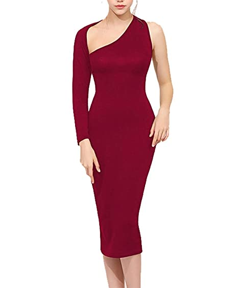 de7f5fdc93804 GH Women's Sexy One Shoulder Backless Cutout Club Bodycon Mini Dress Wine  red M at Amazon Women's Clothing store: