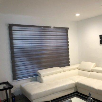 Custom Size Basic Horizontal Zebra Blinds for Windows (Max Width 2.4M, Max Length 2.5M)(Brown) GH