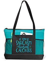 Gym Tote Bag for Women - If Only Sarcasm Burnt Calories Teal Workout Tote -  Funny 96fe7e1115