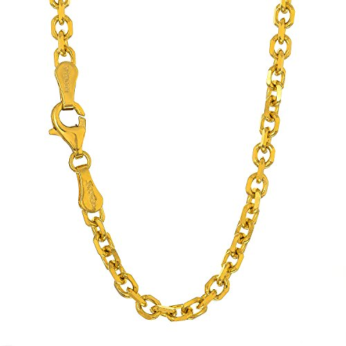 """JewelStop 14k Solid Yellow Gold 2.3 mm Cable Chain Necklace, Lobster Claw Clasp-16"""", 4.3gr."""