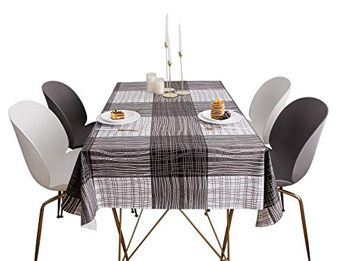 Lavin Tablecloth PVC Wipe Clean Table Cloth Waterproof Oil Cloth Heavy Duty Vinyl Table Cover Rectangle Oilproof Satin-Resistant Home Decoration (Stripe, 55x108 inch, 140x275cm)