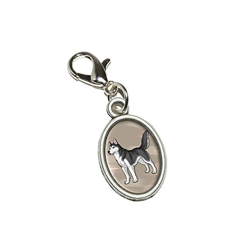 Graphics and More Siberian Husky - Pet Dog Antiqued Bracelet Pendant Zipper Pull Oval Charm with Lobster Clasp