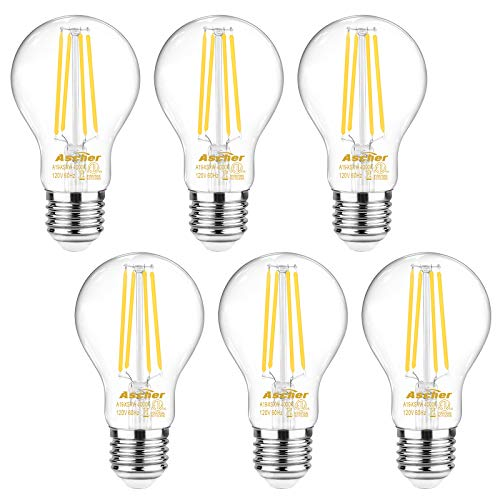 - Ascher 60 Watt Equivalent, E26 LED Filament Light Bulbs, Daylight White 4000K, Non-Dimmable, Classic Clear Glass, A19 LED Light Bulb/6-Pack