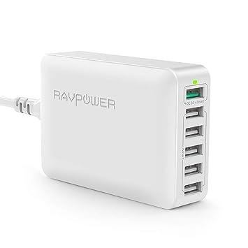 RAVPOWER QC 3.0 Cargador USB 60W 6-Puertos [Qualcomm Certificado] Cargador Móvil de Pared Compatible con Galaxy S8 S7 S6 Edge Note e iSmart iPhone 11 ...