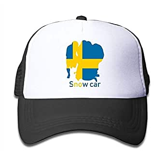 RGFJJE Boys&Girls Snow Car Sweden Flag Mesh Hat Summer