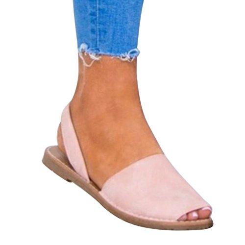 Espadrillas Peep Sandalo A Shoes Estivi per Piatto Toe Scarpe Casual ZKOOO Rosa Laccio Donne con Sandali Basso fXxvB1