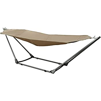 ancheer portable canvas hammock with spacesaving steel stand and shoulder harness carrying bag