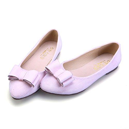 Smilun Damen Flach Ballerina Klassische Ballett Schleife Pink