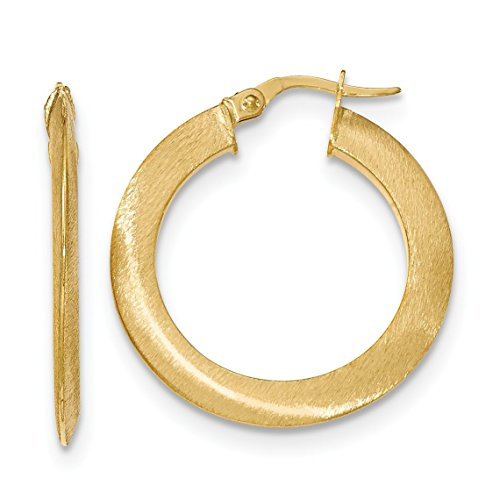 14K Yellow Gold Satin Hoop Earrings - (1.22 in x 1.22 in) 14k Yellow Gold Satin Hoop