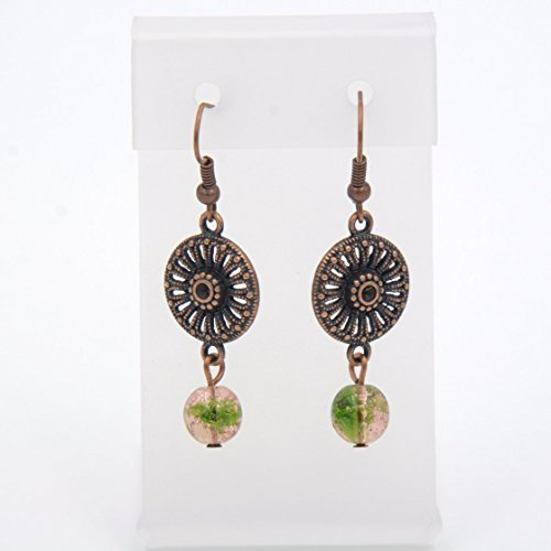Rustic Earring - Textured Oxidized Copper Tone Ornate Design Links, Pink-Green Crackle Beads, 1.5-in