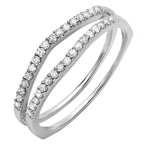 Dazzlingrock Collection 0.25 Carat (ctw) 10K White Diamond Enhancer Guard Wedding Band 1/4 CT, White Gold, Size 8
