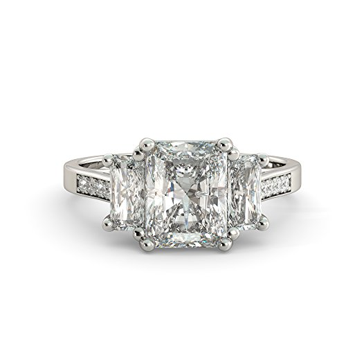 4.25 dwt Radiant Cut 3 Stone Charles & Colvard Forever One Moissanite & Round Diamond Vintage Unique Engagement Ring Your choice of Solid 14k White Rose or Yellow Gold ()