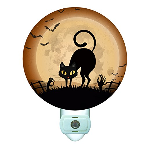 Halloween Graveyard Black Cat Decorative Round Night (Graveyard Halloween Ideas)