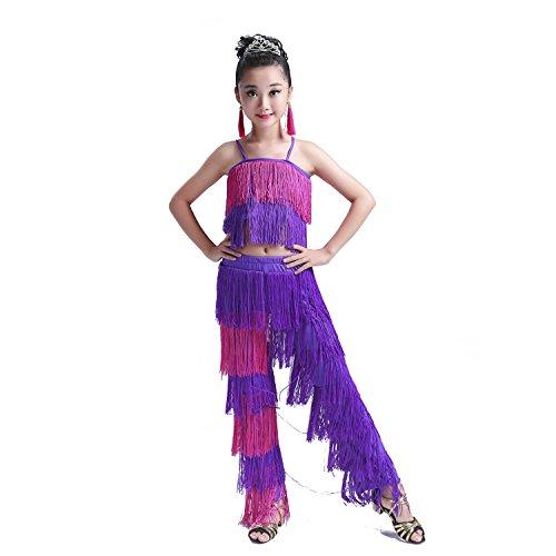 Girl's Latin Dance Dress Tassel Women Tango Salsa Rumba Cha Cha Samba Tango Dance Performance Clothes Competition Costumes Party Stage (8-9 Years, Pink&Purple) -