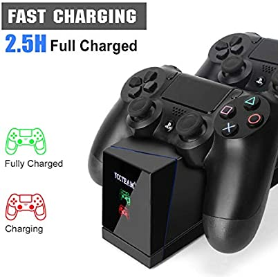 Dualshock - Cargador de controlador para PS4 con 4 puertos USB duales e indicador LED para Sony Playstation 4 PS4, PS4 Pro, PS4 Slim Controller, color negro: Amazon.es: Videojuegos