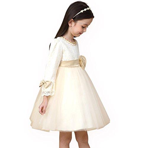 XIU*RONG Vestidos Para Niñas Primavera Princesa Falda Vestidos Para Niños Champagne color