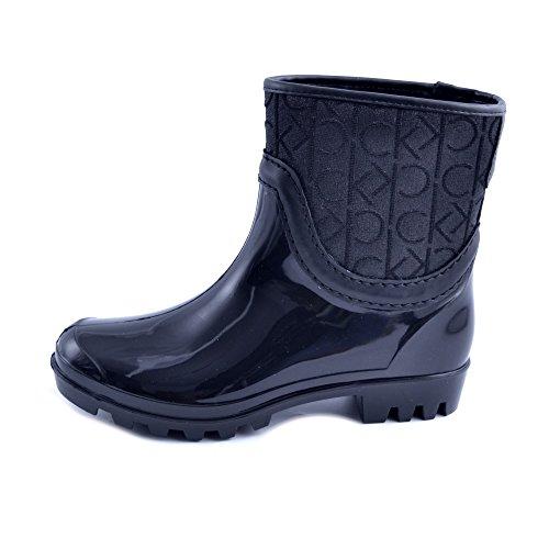 Calvin Klein SCARPE STIVALI DONNA GOMMA E TESSUTO LOGATO NERO PIOGGIA COD. E5900 BLACK NUMERO 41