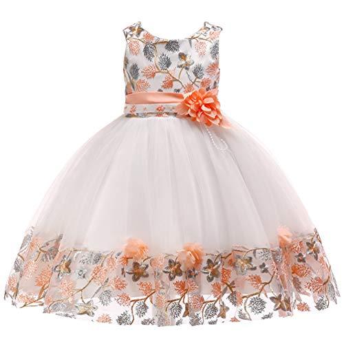 5T 6T Big Girl Spring Semi Formal Dresses Child Beaded Tiered Ruffle Tutu Floral Event Halloween Christening Baptism Ball Gown Girl Dress 5 6 Orange]()