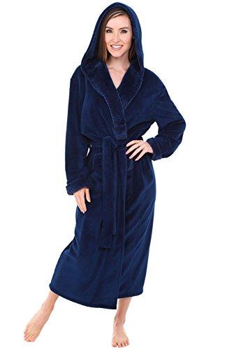 Womens Fleece Robe, Long Hooded Bathrobe, Small Medium Navy Blue with Jacquard (A0263NBJMD) ()
