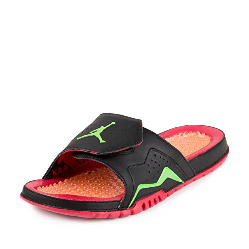 Jordan Men Air Hydro VII Retro Slide Sandal (black/green/bright red) Size 9 US (Air Jordan Hydro)