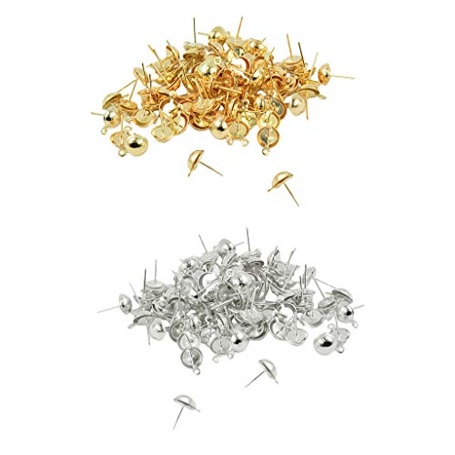 Baosity 200pcs Bulk Sale Gold and Silver Round Tops Ear Stud Earrings Blanks Base Settings Jewelry Findings 15 x 9 mm ()