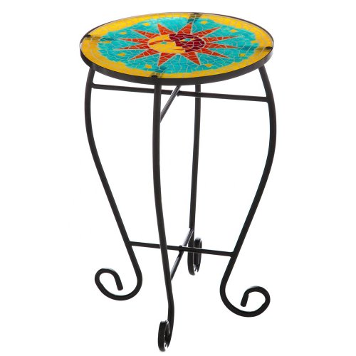 Evergreen Garden Mosaic Glass Radiant Sun Patio Table