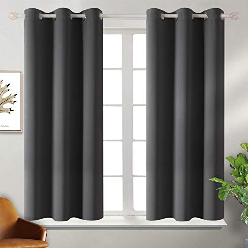 BGment Blackout Curtains for Bedroom - Grommet Thermal Insulated Room Darkening Curtains for Living Room, Set of 2 Panels (38 x 45 Inch, Dark Grey)