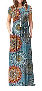 Viishow Women's Short Sleeve Floral Print Scoop Neck Loose Plain Maxi Dresses Casual Long Dresses with Pockets(Floral Mix Blue XS)