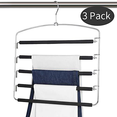 Myfolrena Pants Hangers Non Slip, Foam Paded Swing Arm Hanger Space Saving Hangers Closet Organizer for Jeans,Slacks Trousers,Scarves(3-Pack)