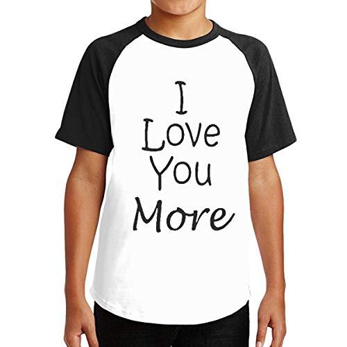 Unisex Teenager I Love You More 3D Printing Short Sleeve T Shirt for Boys Girls Black]()