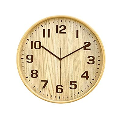 Classic Handmade Silent Wall Clock, KAMEISHI 12 Inches Quiet Wood Wall Clocks Battery Operated Simple Sweep No the tick-tock Decorative for Office, Home, Bedroom, Living Room & Kitchen, Natural color - ❤ Ultra silent wall clock, The Quartz Sweep second movement Be quiet and punctual, non-ticking sounds.high quality Quartz analog clock. ✔-Classic Handmade by Wooden and complete environmental protection,The numerals Using printing technology, Color is always bright. ❤ HD Glass lens, Sturdy & Easy to Clean and to see more clearly and bright, Easy To Install with back nail slot,Hanger any place. - wall-clocks, living-room-decor, living-room - 416Ie Bt0aL. SS400  -