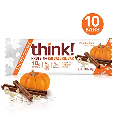think! Protein+ 150 Calorie Bars – Pumpkin Spice LIMITED EDITION, 10g Protein, 5g Sugar, No Artificial Sweeteners, Gluten Free, GMO Free, 1.4 oz bar (10 Count)