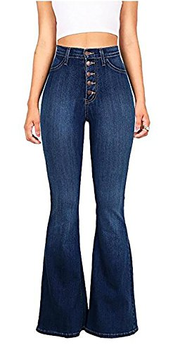 GARMOY Women's Slim Fit High-Waisted Stretch Flared Jeans With Button Dark Blue 10-12
