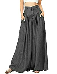 YYG-Women Plus Size High wast Wide Leg Palazzo Jeans Vintage Washed Denim Pants