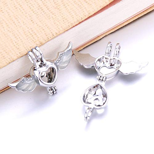 - Love Wings Pearl Cage Necklaces | Essential Oil Perfume Glow in The Dark Pendants | Luminous Necklace Jewelry | for Women (6pcs)