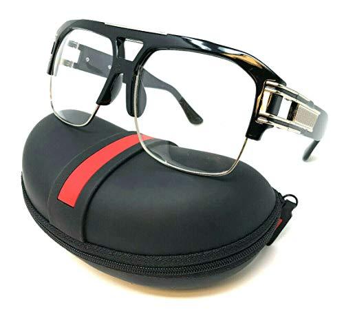 Gazelle B-Boy Square Metal & Plastic Retro Aviator Sunglasses (Black & Silver Frame w/Case, - Sunglasses Frame Black Silver