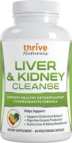 Thrive Naturals Liver & Kidney Cleanse - Supports Healthy Detoxification - Comprehensive Formula - 60 Capsules - 1 Month Supply