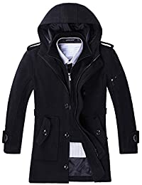 Chickle Men's Winter Hooded Single Breasted Wool Blend Pea Coat