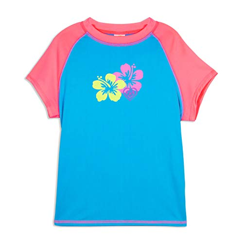 LAGUNA Girls Hibiscus Flower Cap Sleeve Fitted Rashguard Swim Tee Shirt, UPF 50+, Turquoise/Pink, 10/12