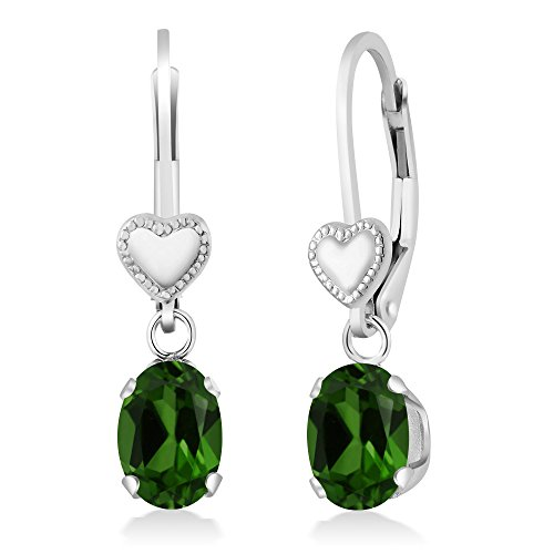 1.60 Ct Oval Green Chrome Diopside 925 Sterling Silver Heart Shape Lever Earrings