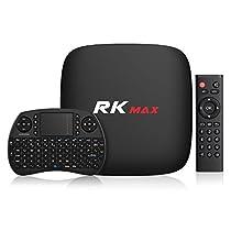 TICTID RK Max Android Tv Box con Wireless Mini Tastiera, Android 6.0, Quad-Core Cortex-A7/ 2+16G / 4K HD / H.265, 10 / 100M Ethernet / 2.4G WIFI / Bluetooth 2.1 Smart TV Box