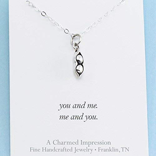 Two Peas in a Pod • Sterling Silver Necklace • BFF Jewelry • Best Friend • Sister • Twin Gift
