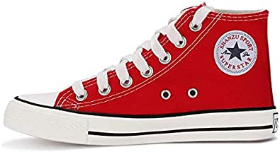 KUNSHOP Unisex Canvas High/Low Tops Sneakers, Fashion Casual Lace up Canvas Shoes Trainers for Women Men Red Size: 5