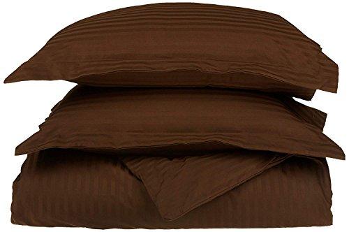 Superior 100% Egyptian Cotton 650 Thread Count King/California King 3-Piece Duvet Cover Set, Single Ply, Stripe, Chocolate ()