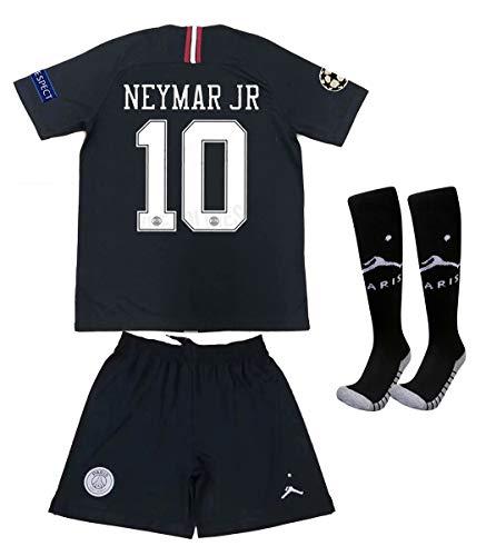 (Saint George ii PSG X 10# Neymar JR 2018/2019 New Away Youths/Kids Soccer Jersey & Armbands & Shorts & Socks Black/White Size 12-13years)