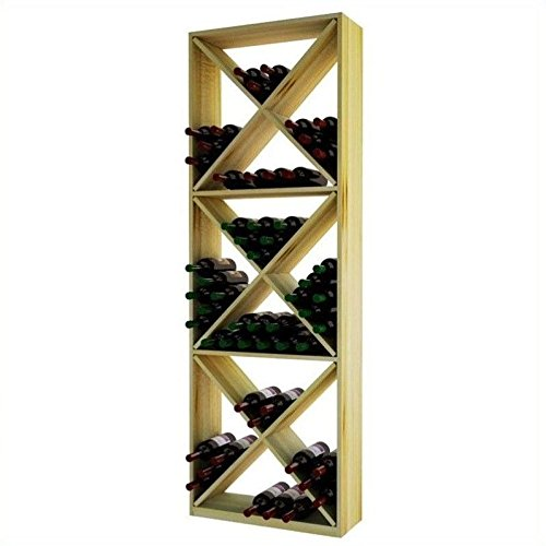 Wine Cellar Innovations Rustic Pine Solid Diamond Cube Wine Rack for 132 Wine Bottles, Unstained