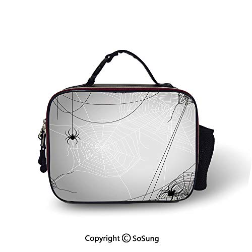 Spider Web Cooler Bag Detachable Spiders Hanging from Webs Halloween Inspired Design Dangerous Cartoon Icon Decorative Smooth zipper for lunch bag,10.6x8.3x3.5 inch,Grey Black White