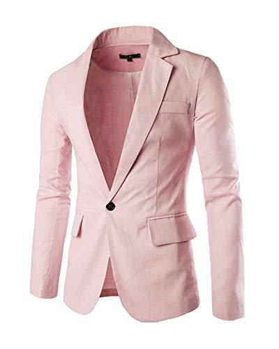 Outwear Otoño Botón Los Slim Pink Jacket Blazer Casual Elegante Fit Simple De Hombres Estilo Leisure 1 Traje Chaquetas SC16xfO