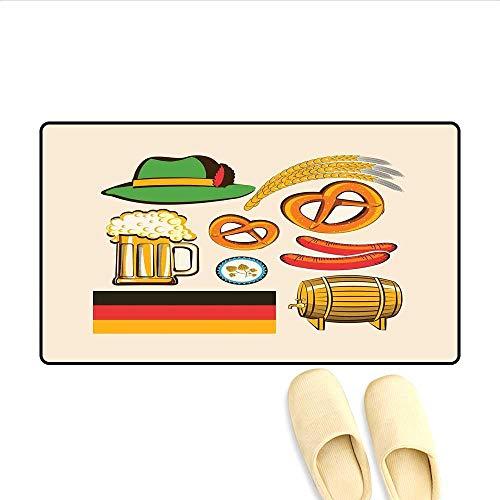 Doormat Oktoberfest Symbols Wheat Sausage Beer and Pretzels Colorful Bavarian Arrangement Floor Mat Bath Mat for Tub Multicolor 32