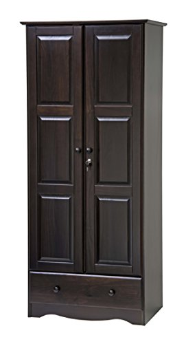 """100% Solid Wood Flexible Wardrobe/Armoire/Closet by Palace Imports, Java Color, 32""""W x 72""""H x 21""""D. 1 Shelf, 1 Clothing Rod, 1 Drawer, 1 Lock Included. Additional Shelves Sold Separately."""